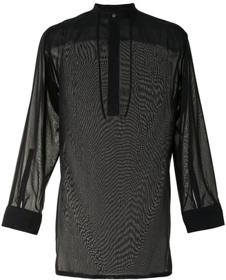 Qasimi Drawstring Neck Long Shirt