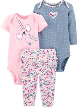 Carter's Little Girls 3-Pc. Koala Bodysuits & Floral-Print Pants Set