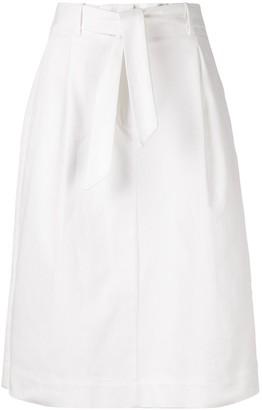 YMC belted A-line midi skirt