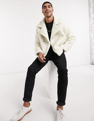 Urban Code Urbancode bonded faux fur biker jacket in cream
