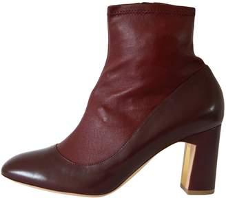 Rupert Sanderson Burgundy Leather Ankle boots