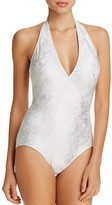 Carmen Marc Valvo Metallic Halter One Piece Swimsuit