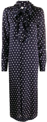 Plan C Ruffle-Trimmed Polka Dot Print Shirtdress