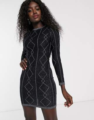 Lipsy diamond lurex tunic in black