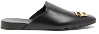 Balenciaga Cosy Bb-plaque Leather Backless Loafers - Black Gold