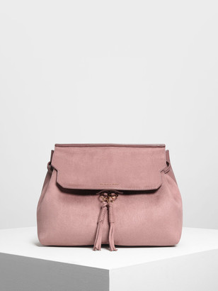 Charles & Keith Tassel Detail Front Flap Backpack