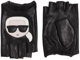 Karl Lagerfeld K/Ikonik Leather Fingerless Gloves