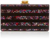 Edie Parker Black Jean Striped Clutch with Rainbow Confetti