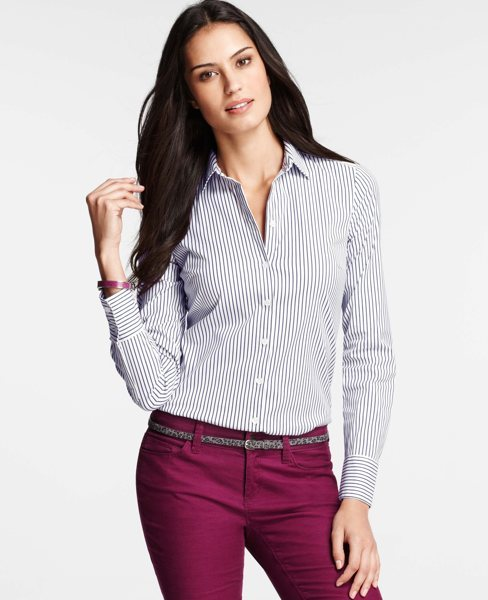Ann Taylor Striped Perfect Button Down Shirt