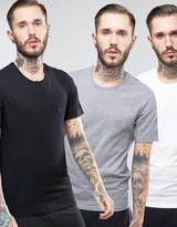 BOSS Black By Hugo Crew T-Shirt 3 Pack In Regular Fit Multi