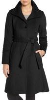 Eliza J Luxe Wool Blend Belted Long A-Line Coat