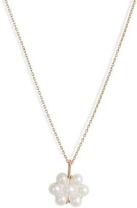 Poppy Finch 14k Gold Pearl Flower Pendant Necklace