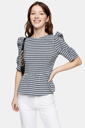 Topshop Navy Gingham Lace Up Puff Sleeve Blouse