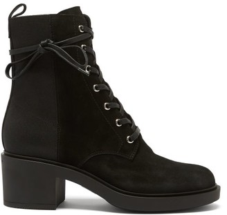 Gianvito Rossi Panelled 45 Laced Block-heel Suede Boots - Black