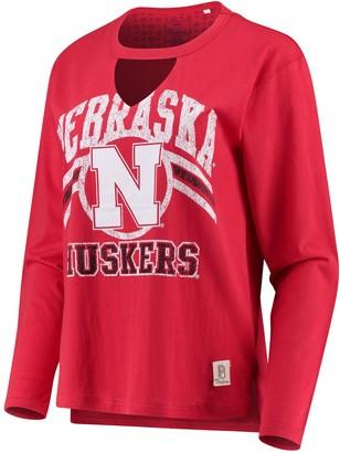 Women's Pressbox Scarlet Nebraska Cornhuskers Scout Choker Long Sleeve T-Shirt