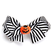 Beary Basics White & Black Stripe Pumpkin Hair Clip
