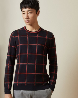 Ted Baker Checked Crew Neck Jumper