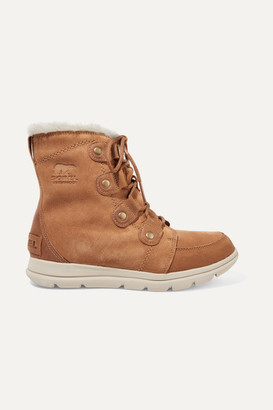 Sorel Explorer Joan Faux Fur-trimmed Waterproof Suede And Leather Ankle Boots - Light brown