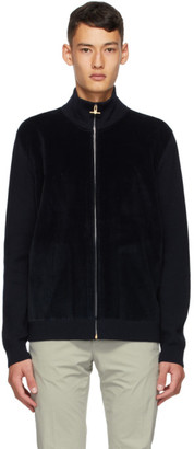 Dunhill Navy Merino Wool and Corduroy Track Jacket