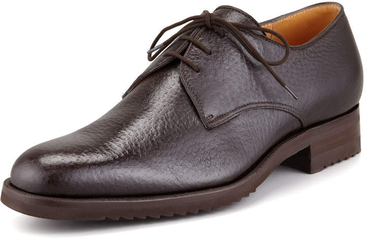 Gravati Peccary Leather Lace-Up Blucher, Brown