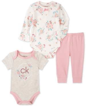 Calvin Klein Baby Girls 3-Pc. Bodysuits & Pants Set