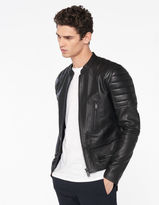 Leather jacket with quilted trims