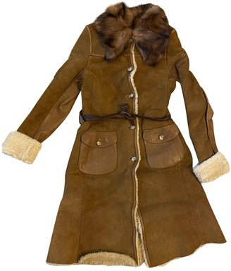 Miu Miu Brown Leather Coat for Women