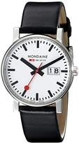 Mondaine Men's Quartz Watch with White Dial Analogue Display and Black Leather Strap A669.30300.11SBB