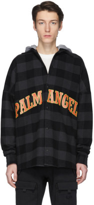 Palm Angels Black and Grey College Logo Over Shirt