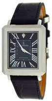 Le Château M_BLK Men's Diamond Accented Slim Leather Dress Watch