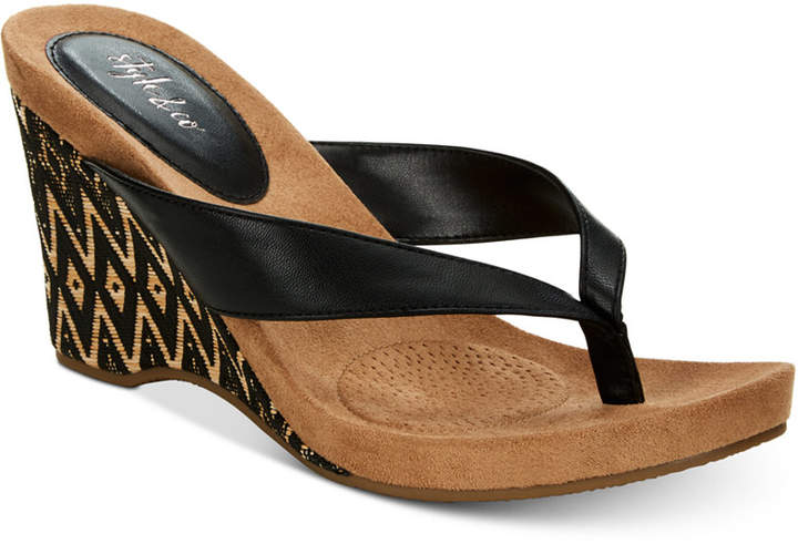 3e73a32bc55 Style & Co Chicklet Wedge Thong Sandals, Women Shoes
