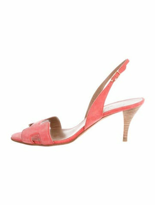 Hermes Night Suede Slingback Sandals Pink