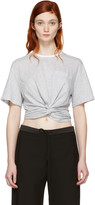 Alexander Wang Grey & White Front Twist T-Shirt