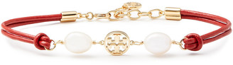 Tory Burch Gold-tone, Leather, Freshwater Pearl And Moonstone Bracelet