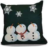 16 in. x 16 in. 3 Wise Snowmen Holiday Pillow in Dark Green