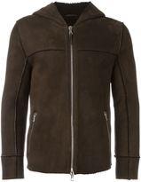 Eleventy shearling hooded jacket