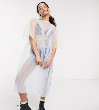 One Above Another midaxi smock dress with ruffles in mixed sheer gingham