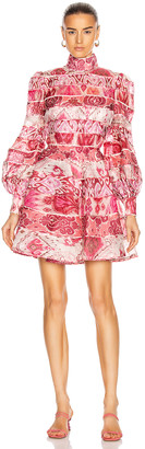Zimmermann Wavelength Spliced Mini Dress in Spliced Pink Ikat | FWRD