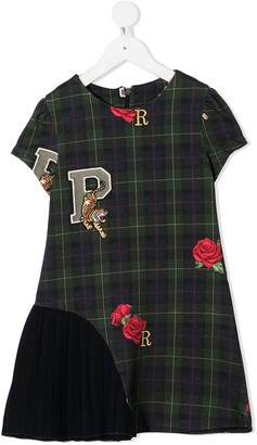 Lapin House Check Patchwork Embroidered Dress