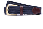Barbour Stretch Webbing Navy Leather Trim Belt