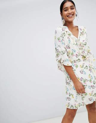 Liquorish floral wrap dress-White