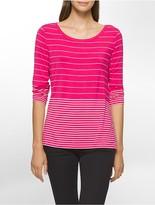 Calvin Klein Mixed Stripe 3/4 Sleeve Top
