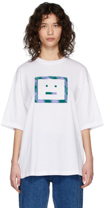 Acne Studios White Check Motif T-Shirt