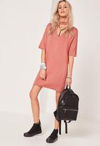 Missguided Pink Choker Neck Harness T-Shirt Dress