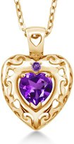 Gem Stone King 0.76 Ct Genuine Heart Shape Amethyst Gemstone 14k Yellow Gold Pendant
