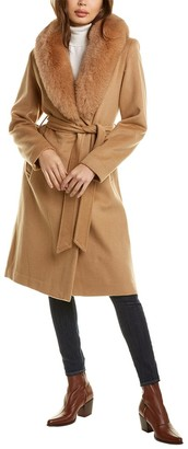 Sofia Cashmere Sofiacashmere Oversized Wool-Blend Wrap Coat