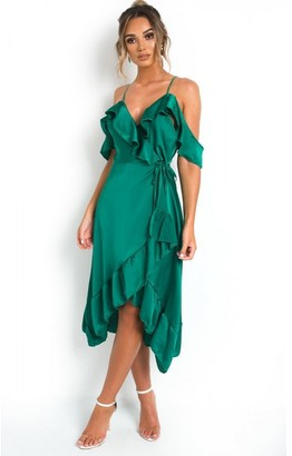 IKRUSH Clara Frill Satin Wrap Dress