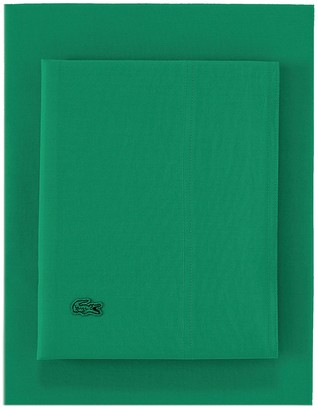 Lacoste Cal King Washed Percale Sheet Set - Green