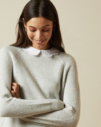Ted Baker Ribbed Frill Collar Mock Neck Jumper