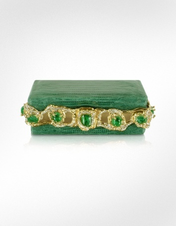 Maddalena Marconi Jeweled Green Reptile Frame Clutch